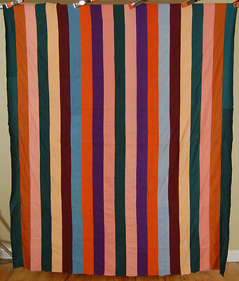 VIBRANT Vintage 30's Mennonite Bars Antique Quilt Top ~GREAT COLORS!
