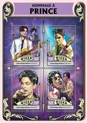 Niger - 2016 Tribute to Prince - 4 Stamp Sheet - NIG16322a