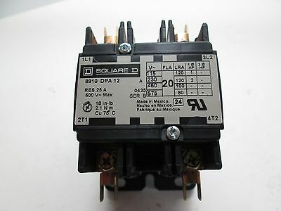 Square D 8910 DPA 12 Contactor, Coil Voltage: 110/120VAC 50/60Hz, Rating: 600VAC