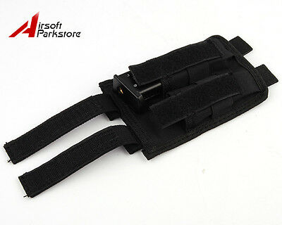 Molle Tactical Pistol Double Magazine Mag Pouch Holster Airsoft Hunting Black