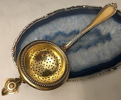 QUALITY Sterling Silver & Gilt/Vermeil/Gold Wash Tea Strainer c1870 GERMANY-L347