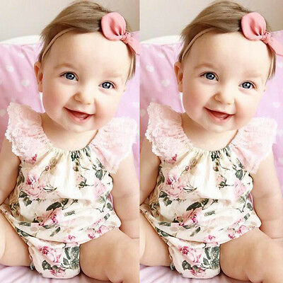 Newborn Toddler Baby Girl Clothes Romper Bodysuit Bodysuit Outfits Lace Floral
