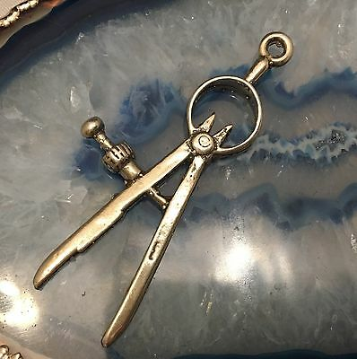 Hand Crafted Sterling Silver Miniature Compass Drawing Tool Math Geometry -L361