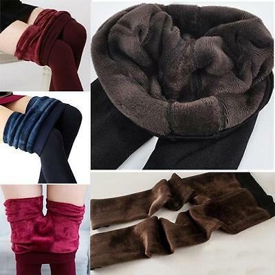 New Womens Solid Winter Thick Warm Fleece Lined Thermal Stretchy Leggings Pants
