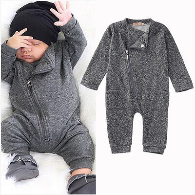 Baby Boys Girls Infant Knit Long Sleeve Romper Jumpsuit Bodysuit Clothes Outfit