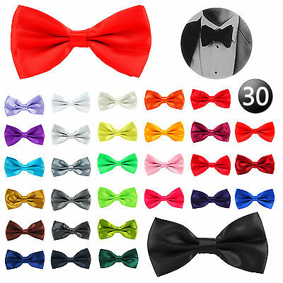 Adjustable Satin Mens Pre Tied Bow Tie Plain Necktie Ties Wedding Party 30Colour