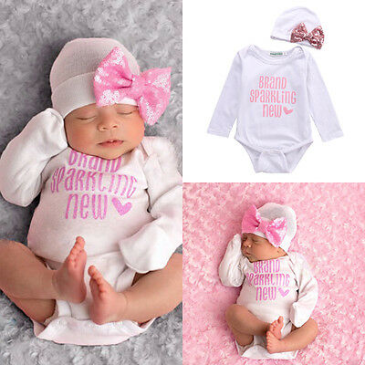 Toddler Baby Girls Kids Romper+Hats Jumpsuit Bodysuit Clothes 2pcs Outfits Sets