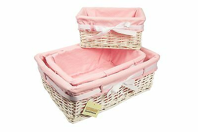 Woodluv Rectangular White Willow Wicker Hamper Storage Basket-With Pink Dot Lin