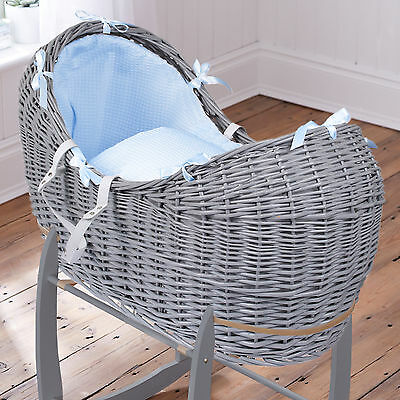 New Clair De Lune Blue Waffle Grey Wicker Padded Baby Moses Basket / Noah Pod