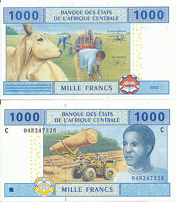 Central African St. / Chad - 1000 Francs 2002 UNC - Pick 607C
