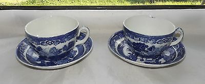 Adderley Ware Old Willow Blue and White 2 x Large Tea Cups and Saucers c1930s