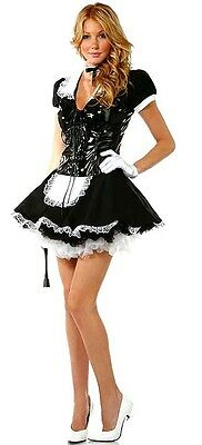 Ladies Flirty French Maid Uniform Fancy Dress Costume Sexy PVC Outfit
