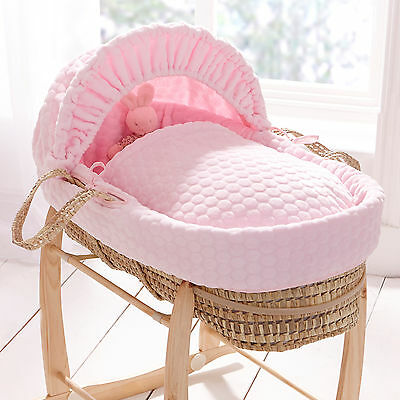 New Clair De Lune Pink Marshmallow Padded Palm Baby Moses Basket & Mattress