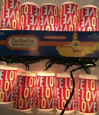 Beatles Love Valentines 10 Strand Light Set Yellow Submarine Kurt Adler 2012 Can