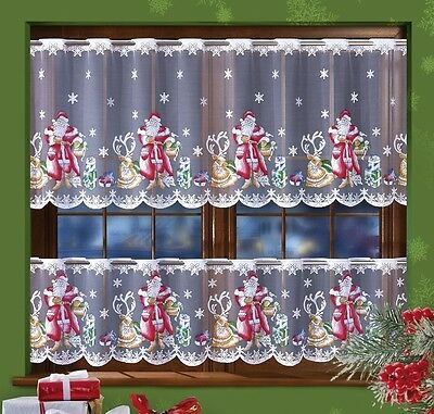 Jardineire Cafe Net Curtain Father Christmas Santa Pattern Sold By The Metre New