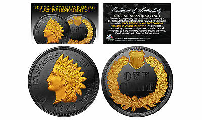 Genuine INDIAN HEAD CENT PENNY Full Liberty Coin BLACK RUTHENIUM 2-Side 24K Gold