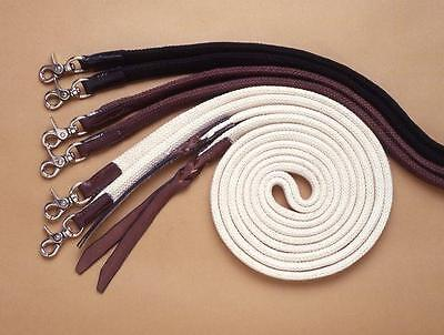 Western/stock Horse- Brown Split Reins 7 Foot With Leather  & Scissor Snap Ends