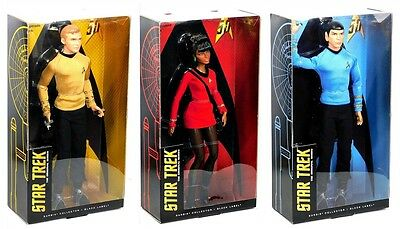 Barbie Black Label Star Trek 50th Anniversary Kirk Spock Uhura 3 Doll Set!
