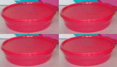 Tupperware Microwave Safe Cereal Bowls & Seals Set Impressions Raspberry Red New