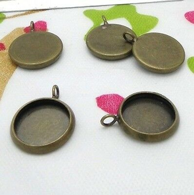 20PCS Antiqued Bronze Plate 10mm Round Blank Pendant Settings #22706