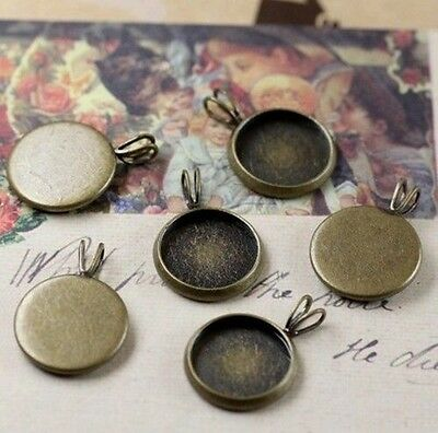 20PCS Antiqued Bronze 10mm Round Blank Charm Pendant Settings #22704