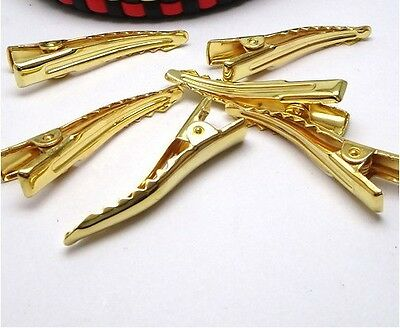 30PCS Gold Plate Single Prong Metal Alligator Clips Hair Accessory #23067