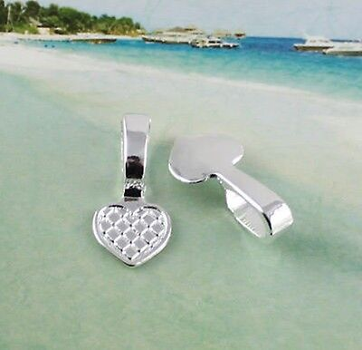 100PCS Silver Plate Heart Glue on bail charms FC11586SP