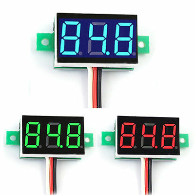 0-100V Mini DC LED 3-Digital Diaplay Voltage Panel Meter Voltmeter with 3 Wires