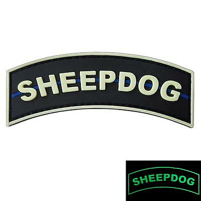 sheepdog thin blue line police tab PVC rubber glow dark SWAT hook-and-loop patch