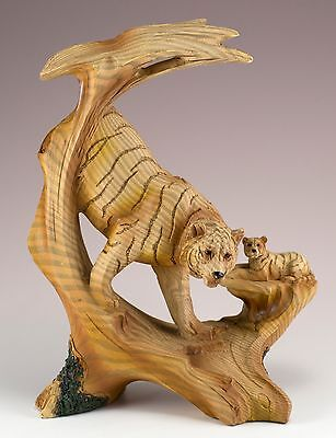 Tiger Carved Wood Look Figurine Resin 7 Inch High New In Box