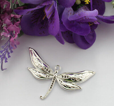 5PCS Shiny Silver Plate Dragonfly Charm Pendants T19023