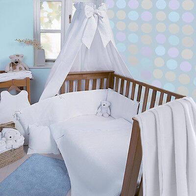 Clair De Lune White Waffle 3 Piece Cot / Cot Bed Bedding Set Quilt Bumper Sheet