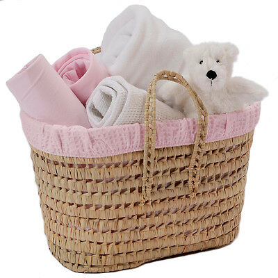 New Clair De Lune Pink Polly Waffle Lined Nursery Basket With Storage Pockets