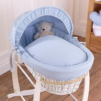 New Clair De Lune Blue Waffle Padded White Wicker Baby Moses Basket & Mattress