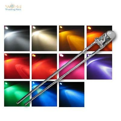 LED 3mm transparente diferentes colores & Brillo Diodos emisores luz 3 mm