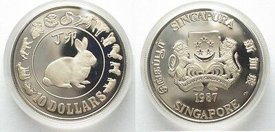 SINGAPORE 10 Dollars 1987 YEAR OF THE RABBIT silver Proof SCARCE!!! # 95024