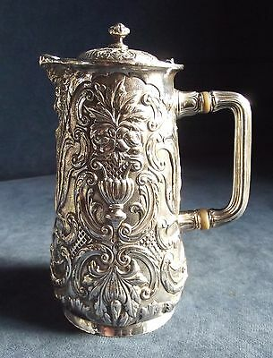 SUPERB Ornate ~ GREEN Man ~ SILVER Plated ~ Water / WINE JUG ~ c1890