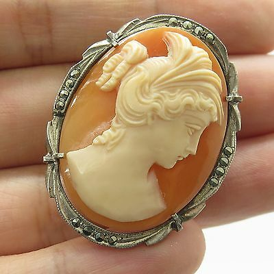 Vtg 800 Silver Large Natural Marcasite Victorian Lady Cameo Pendant Brooch