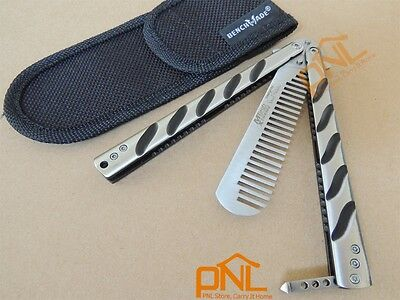 1PC Butterfly Training Comb Knife  Trainer Tool Comfortable Handle+ Nylon Pouch