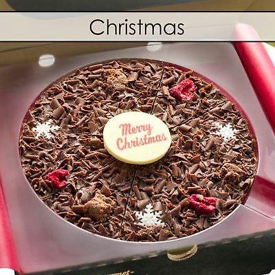 """Gourmet Chocolate Pizza Company 7"""" Happy Christmas Belgian Present Gift in Box"""