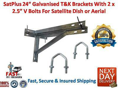 SatPlus 24 Inch Galvanised Satellite Dish Aerial T & K Wall Brackets 2 x V Bolts