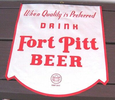 Vintage Fort Pitt Beer Advertising Sign (White)  Fort Pitt Brewing Pittsburgh Pa