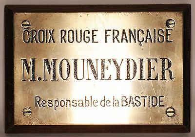 French Red Cross bronze name plate M Mouneydier fortified town supervisor 1930s