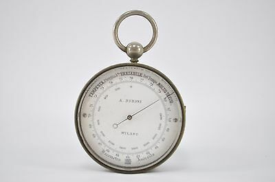 Rare 19Th Century Italian Cased Pocket Barometer Compass & Thermometer