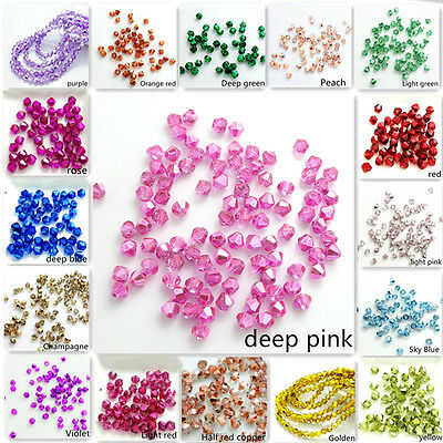 Wholesale Half Plated  bicone crystal glass 5301# Loose Spacer Beads 3mm4mm6mm