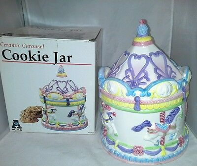 NIB Ceramic Carousel Cookie Jar Acme 1994 Colorful New Horses Elephant Lions