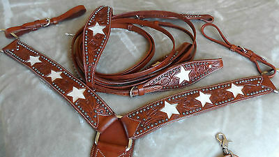 Western Horse Show/rodeo - Bridle, Reins & Breastplate Set - Hide Star Design