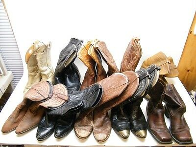 Lot Of 12 Mens Wholesale Various Ranch Worn Leather Cowboy Western Craft Boots