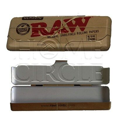 RAW Rolling Paper Case Tin Metal regular 1 1/4 Classic Tobacco Pouch Carry