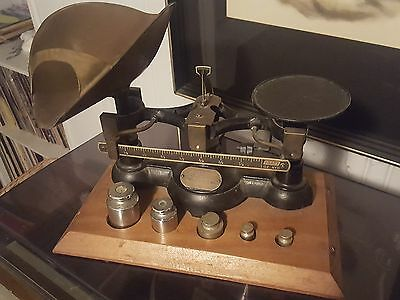 Antique Ohaus (Apx. 1915) Cast Iron Candy / Seed Scale- Complete On Wooden Base
